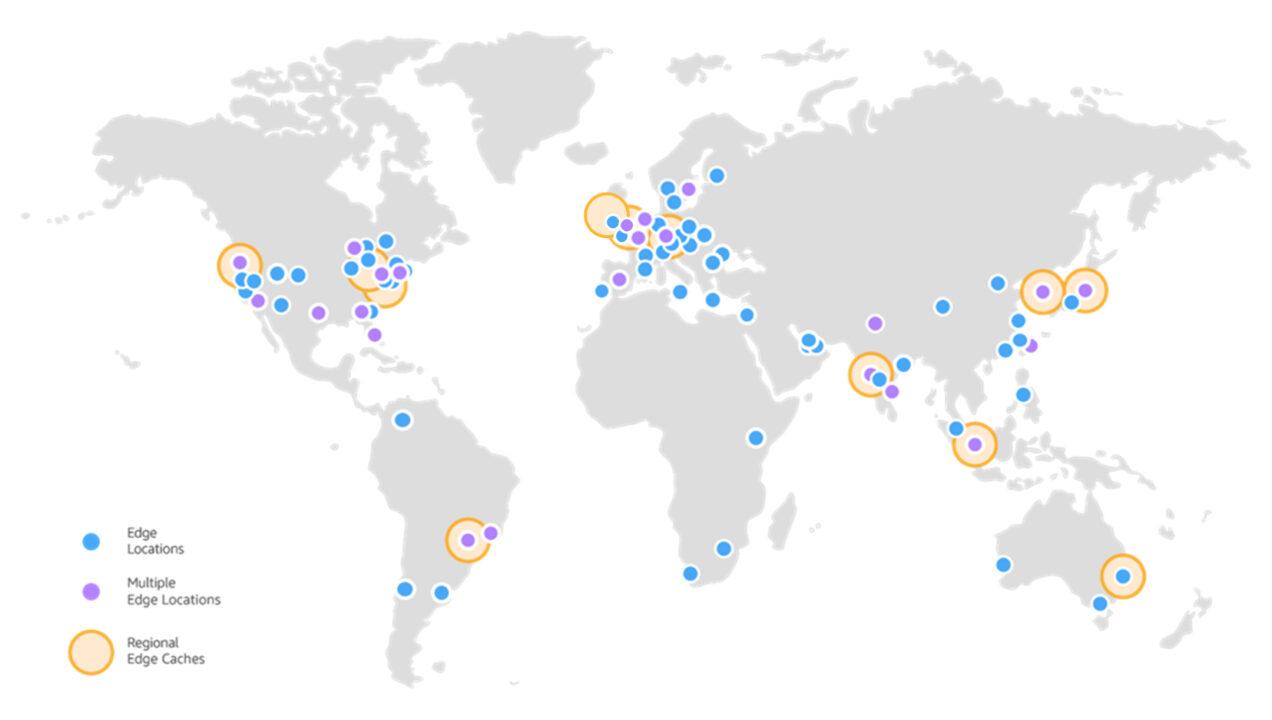 CloudFront: mappa dei punti di presenza (PoP)
